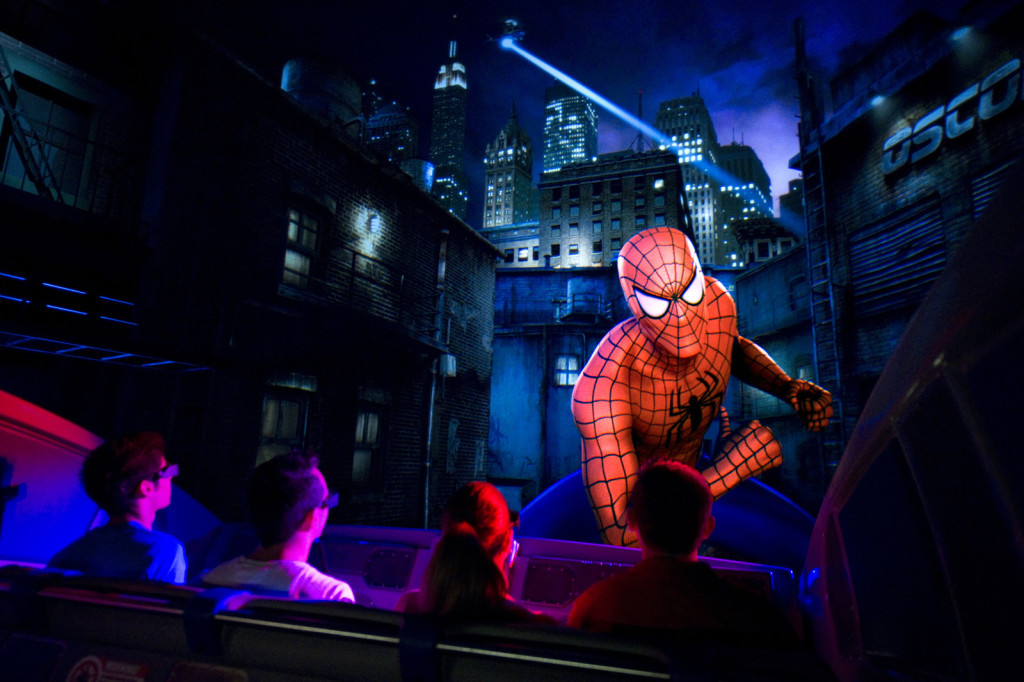 The Amazing Adventures of Spider-Man attraction b-roll for publicity grand reopening Employees on vehicle at Marvel Super Hero Island MSHI at Islands of Adventure IOA