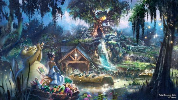 Splash Mountain no tema de A Princesa e o Sapo